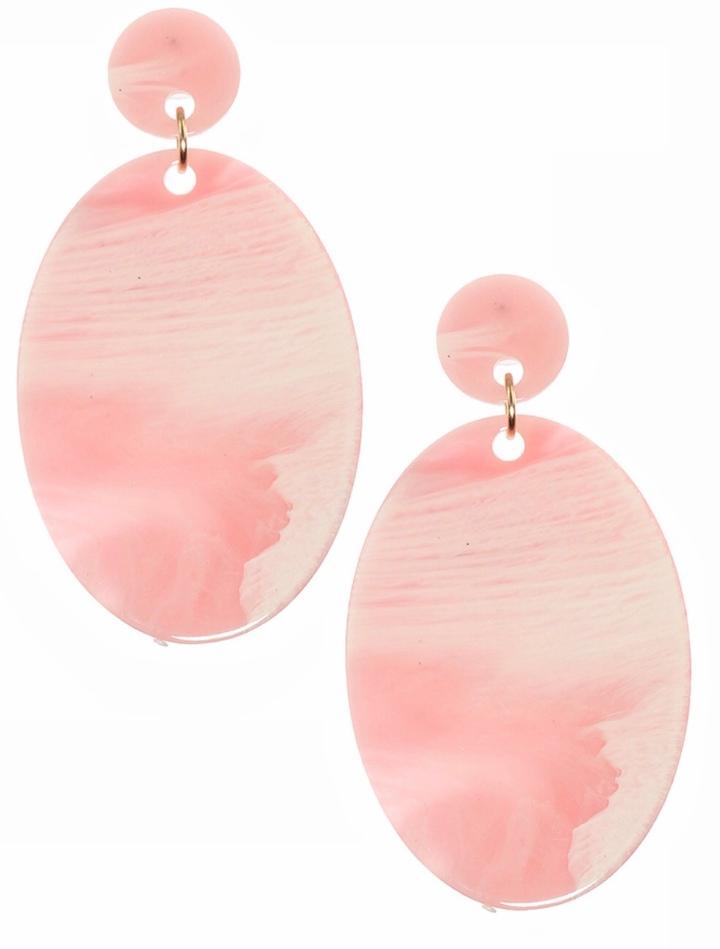 Pink oval dangle earrings