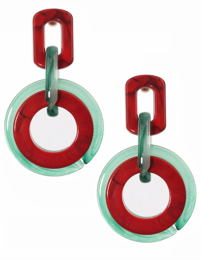 Red and green acrylic earrings