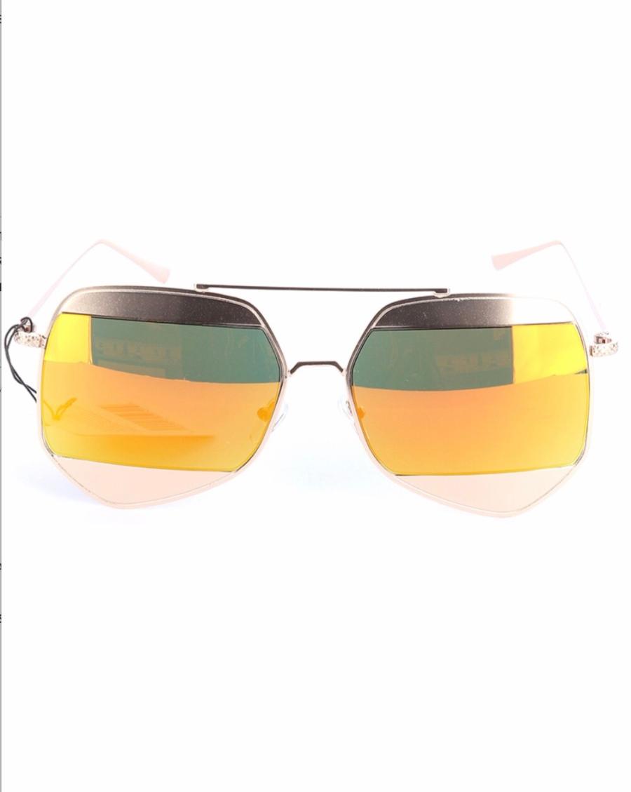 Octagon Shape women's Sunglasses Gold