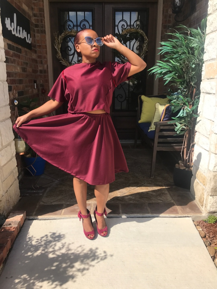 Handmade burgundy skirt set