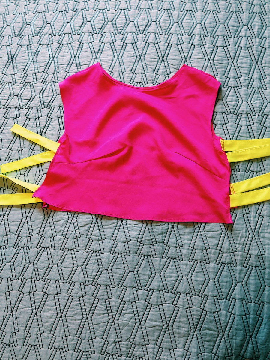 hot pink and yellow crop top