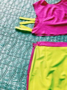 neon yellow and pink top and skirt set