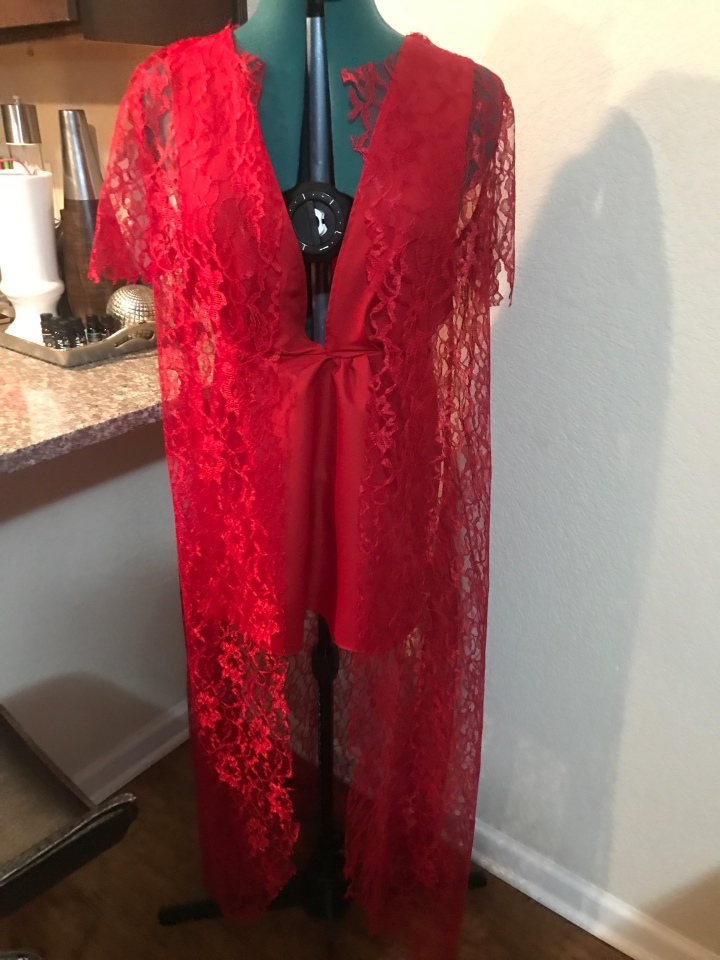 Red handmade lace Duster and red dress
