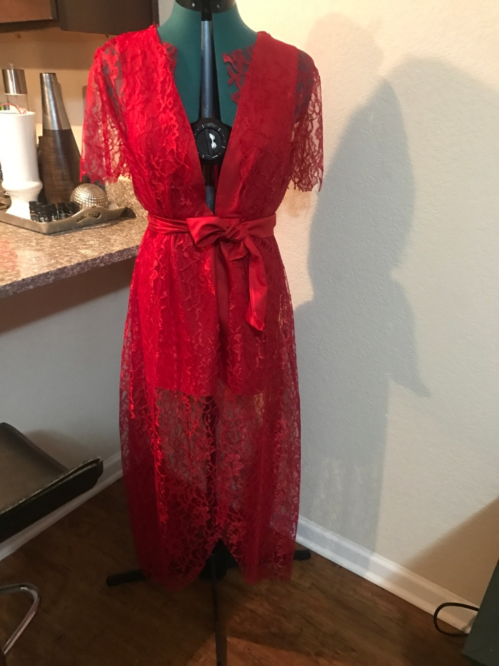 Red handmade women's dress