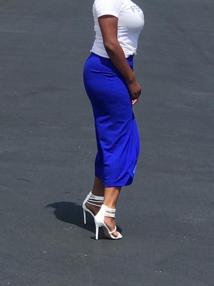 Blue split front skirt blue Labels Boutique