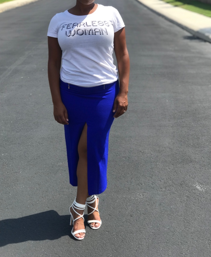 Blue split front skirt