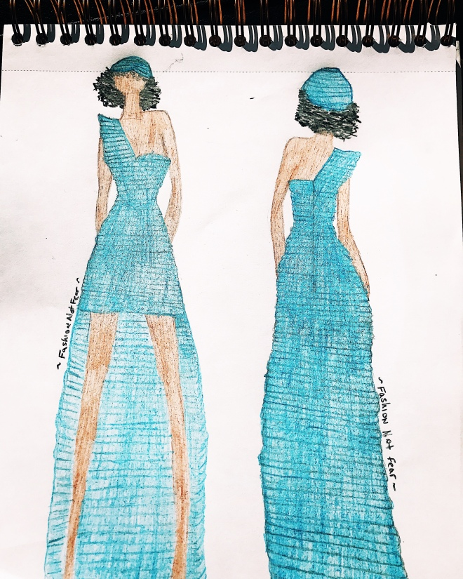 Fashion not fear blue dress illustration