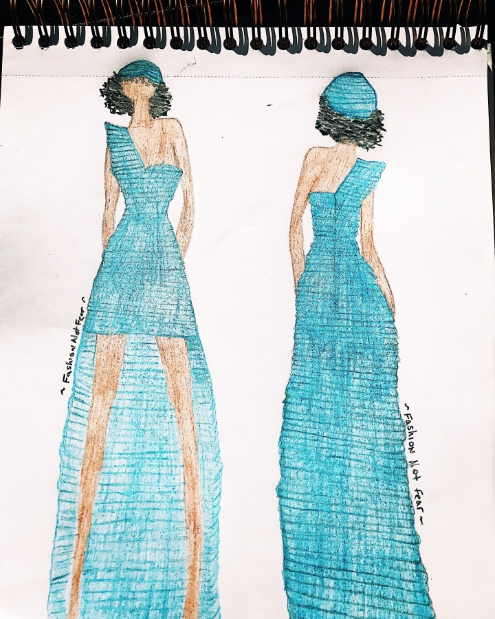 Fashion not fear blue dress illustration