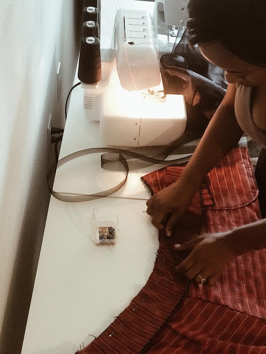Sewing handmade skirt