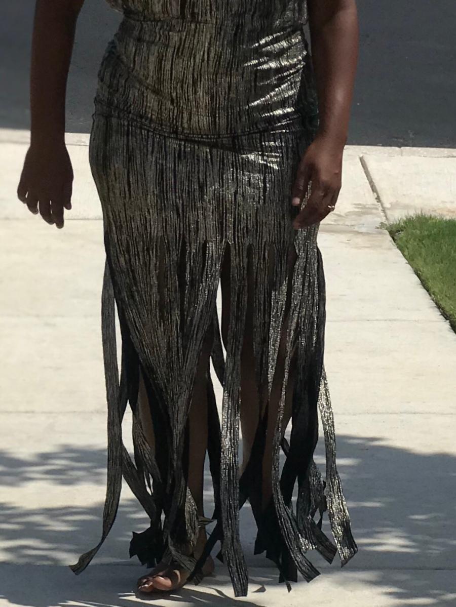 Gold and black fringe dress