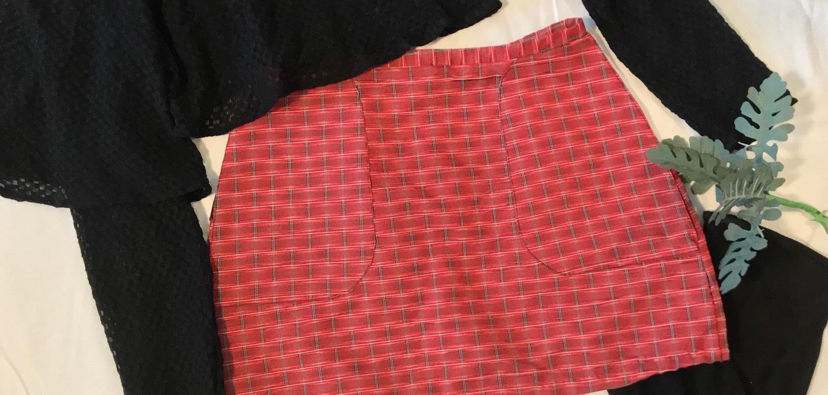 Sheer handmade top handmade plaid skirt