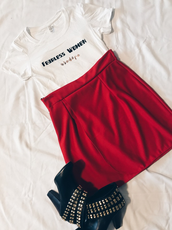 fearless women t-shirt red wrap skirt metal and black boot