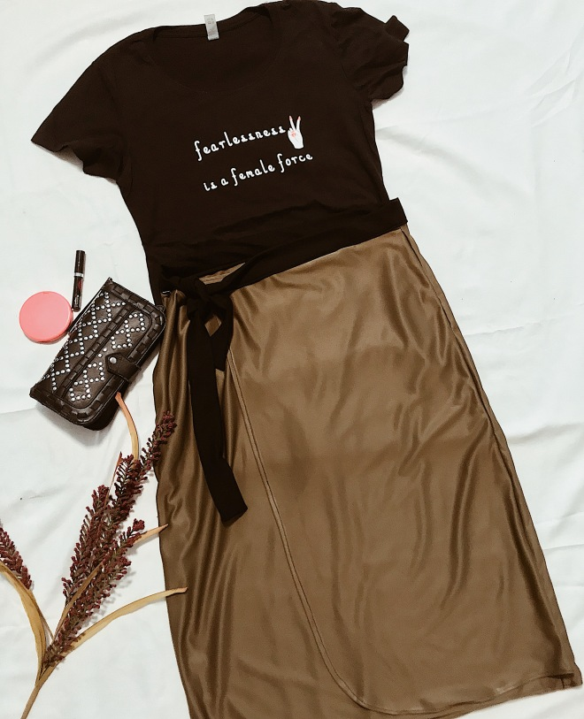 fearless woman t-shirt, olive wrap skirt