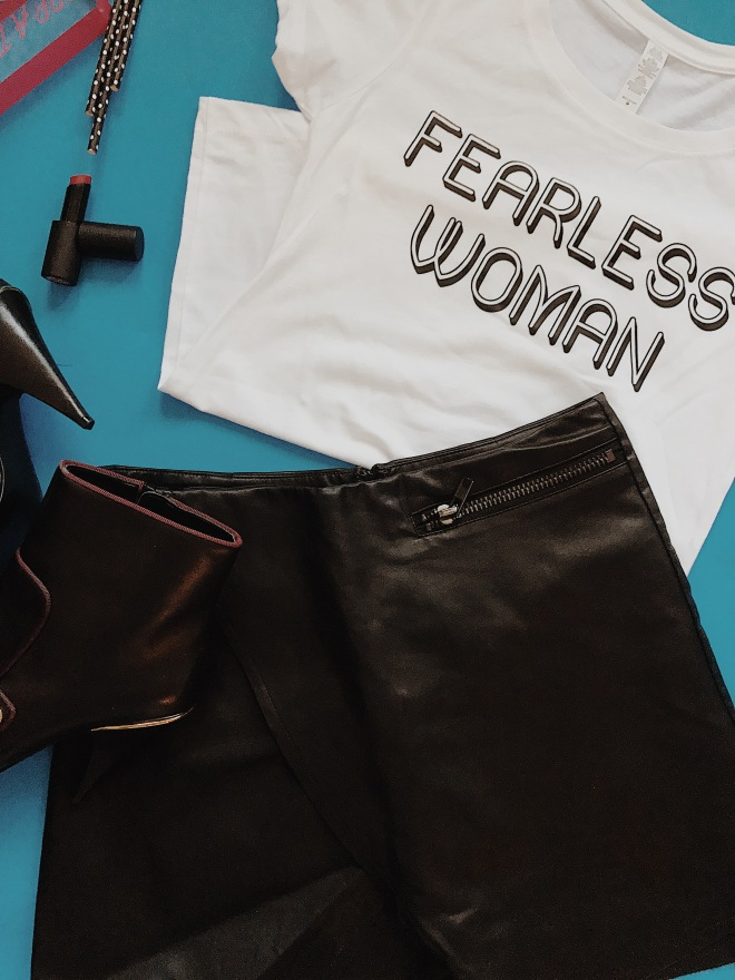 white fearless woman t-shirt, leather wrap skirt