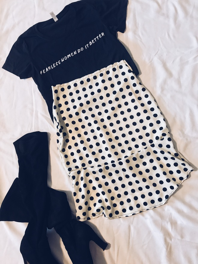 fearless women t-shirt, polka dot skirt knee high boots