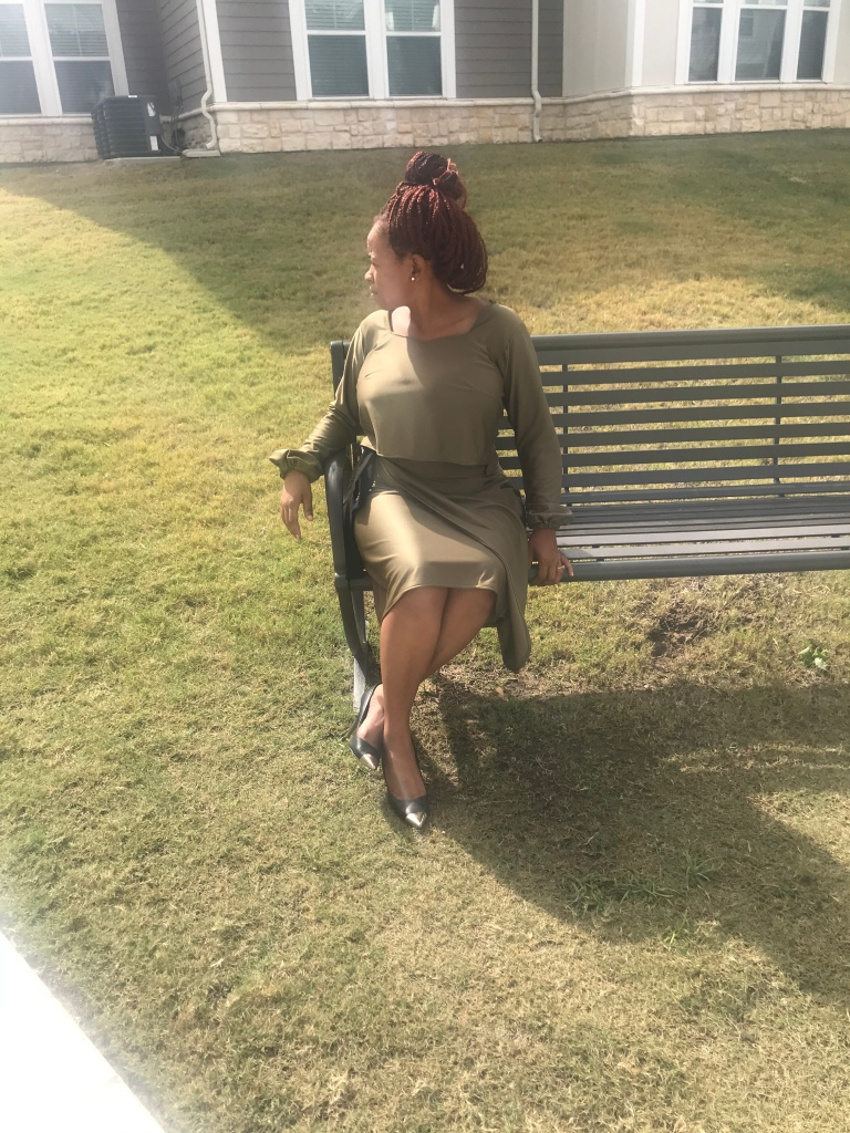 Olive green top and wrap skirt