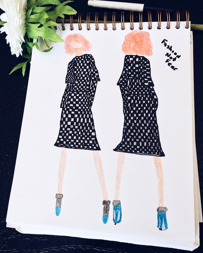 Fashion illustration of handmade skirt set