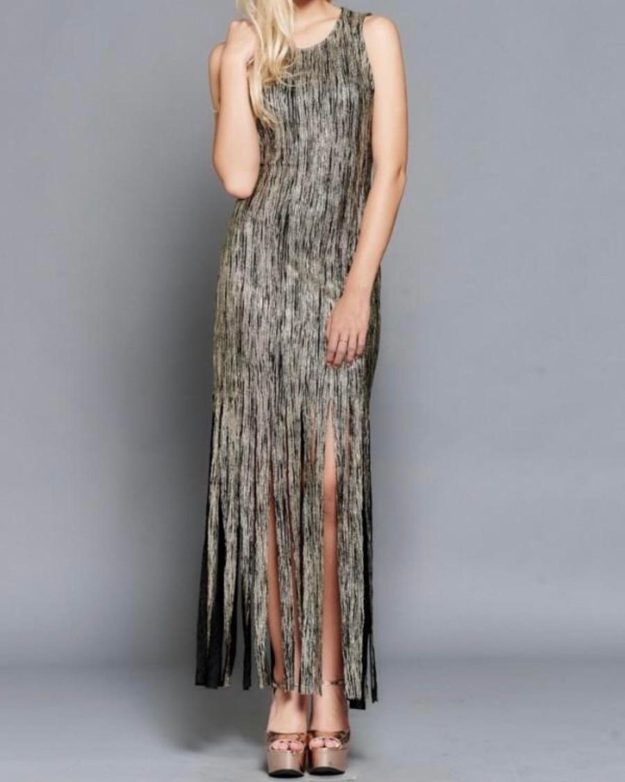 black and gold fringe dress