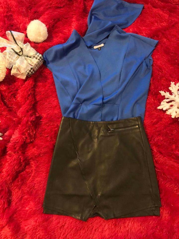 blue hoodie leather skirt