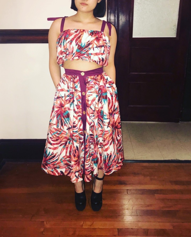 floral retro crop top and matching skirt