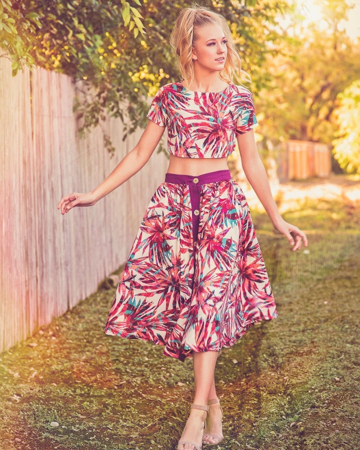 floral printed short sleeve top and matching skirt