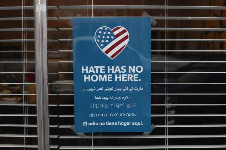 no hate here sign