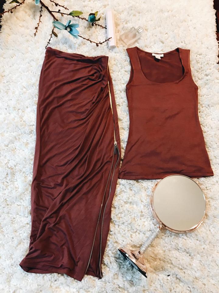women's tank and zippered skirt set