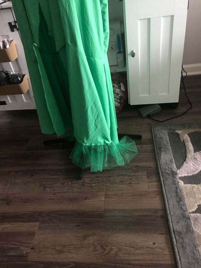 green dress with tulle