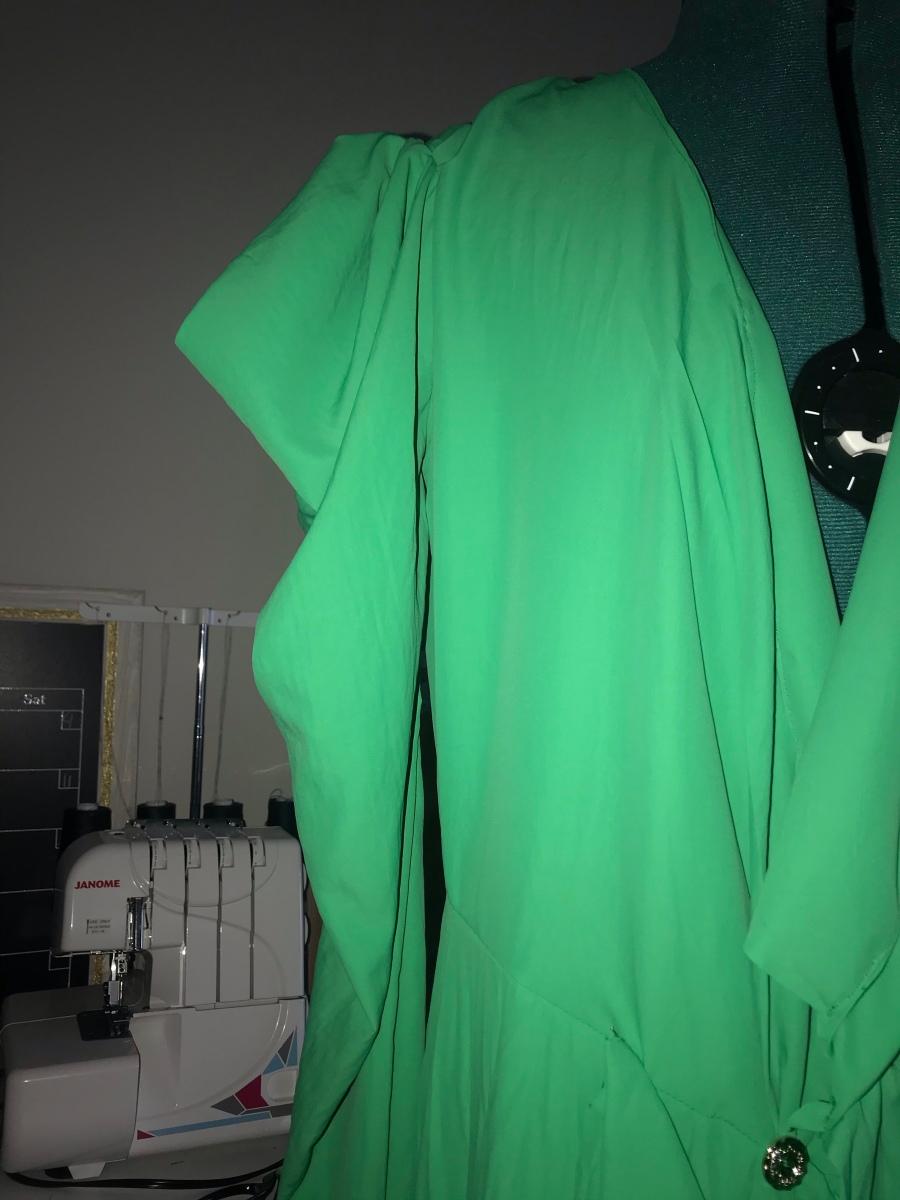 Green wrap dress flutter sleeves