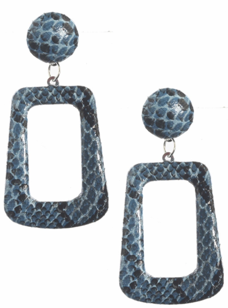 snake print dangle earrings