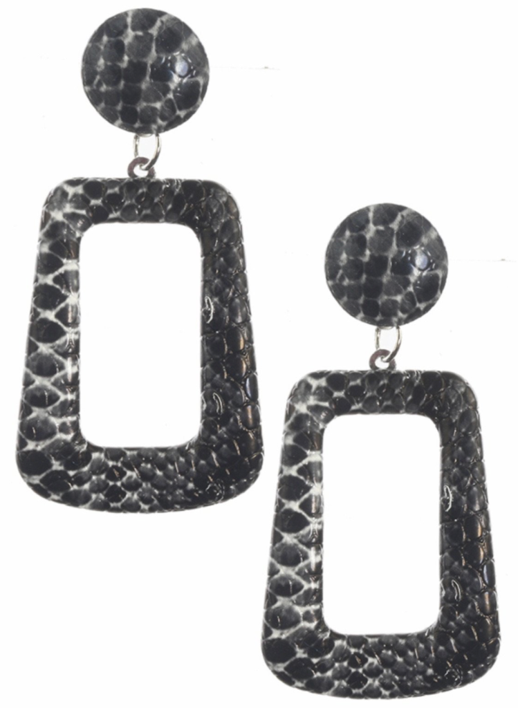 black snake print dangle earrings