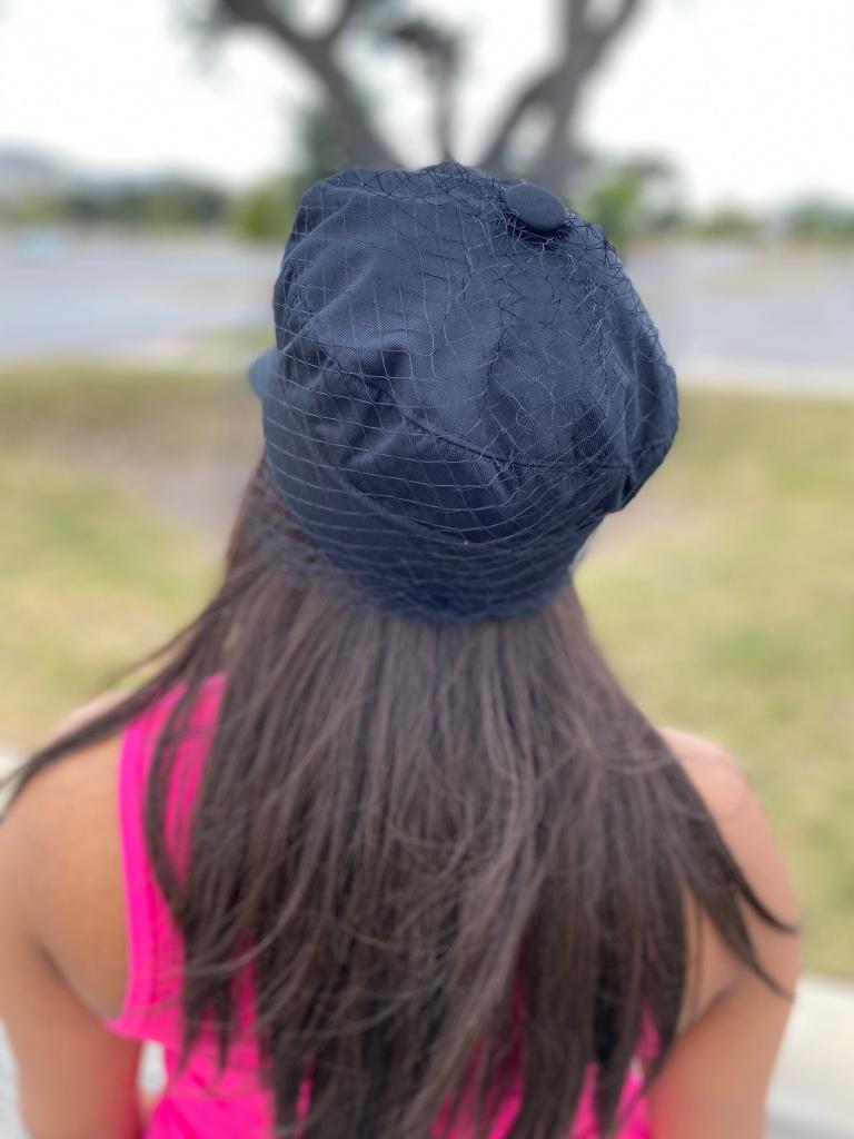 Denim hat with net