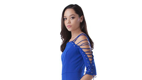blue lace up sleeve dress