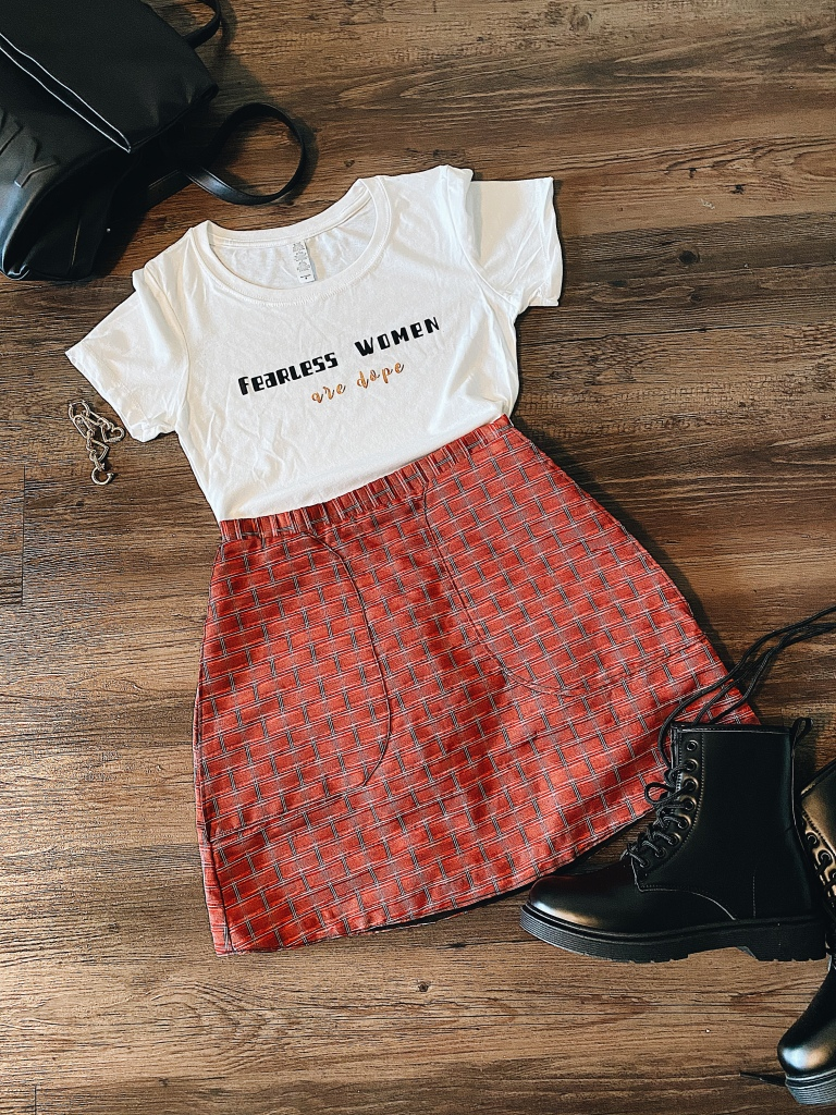 Fearless women are dope tee and plaid mini skirt
