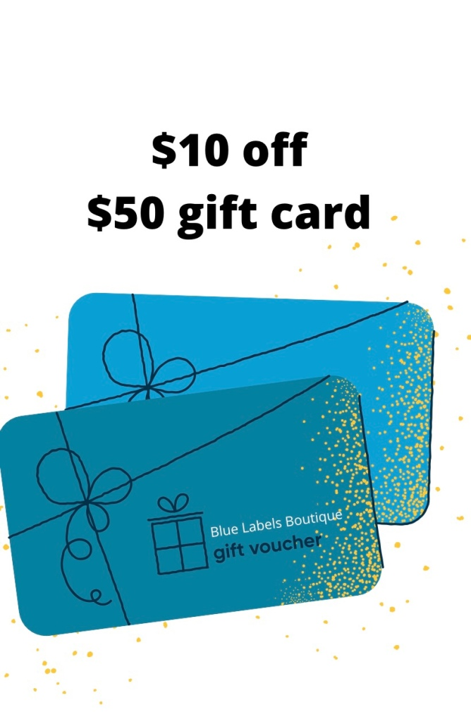 Gift cards at blue labels boutique