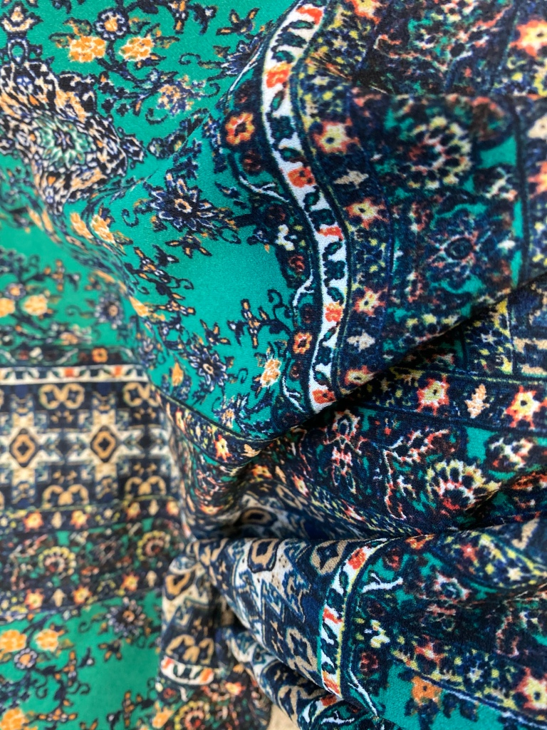 Green printed fabric