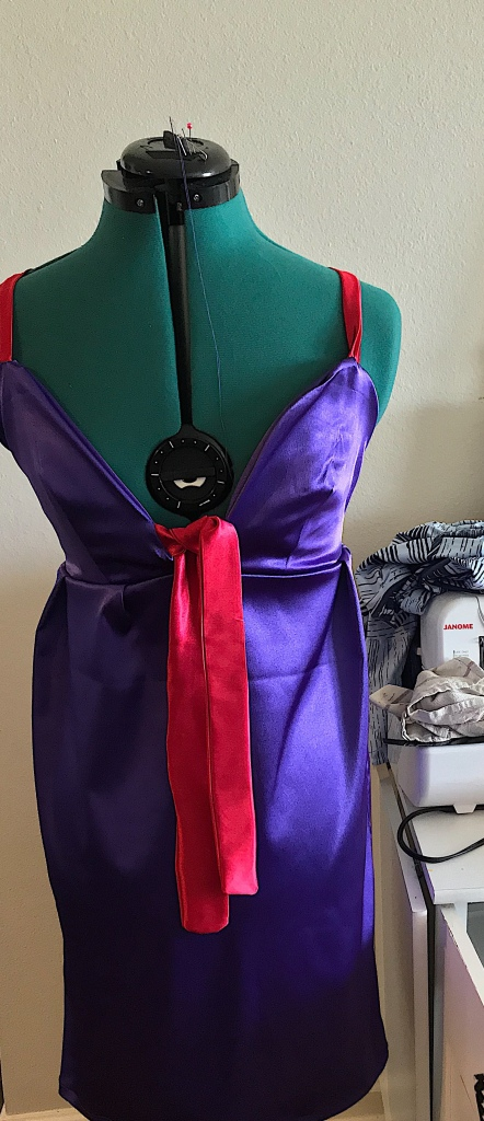 Image of purple and red handcrafted satin dress