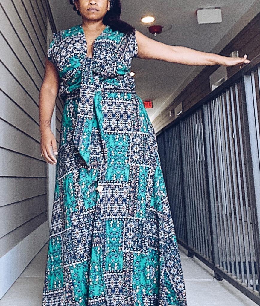 Image of womens printed maxi dress