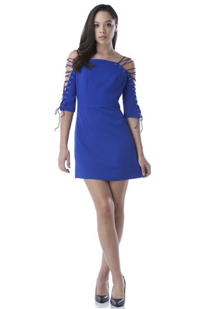 Image of blue dress with tie up sleeves
