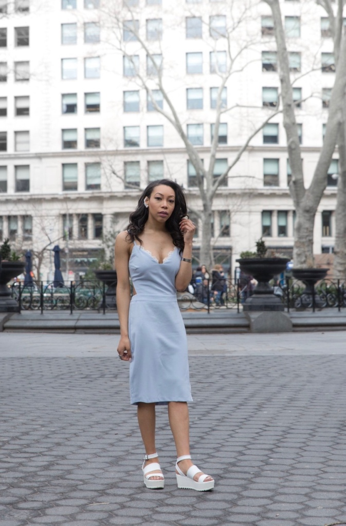 Image of blue spaghetti strap and lace dress