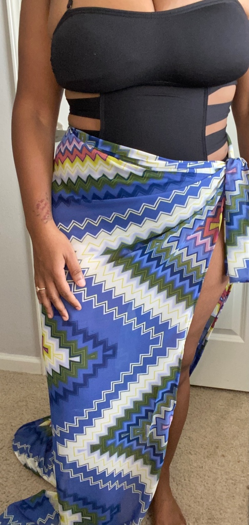 Womens printed long sarong swimsuit coverup